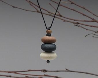 Nature Necklace of beach stones , cairn of beach stones,neutrals, meditative, zen, adjustable cord