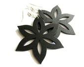Black Tropical Flower Wooden Earrings