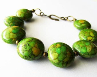 Chunky Green Mosaic Turquoise Coin Bracelet