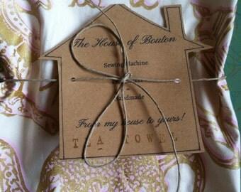 Tea Towel/Handmade/Hand-Printed Tea Towel/Tea Motif/Gold and powder pink/Maine Made/fair trade/limited edition