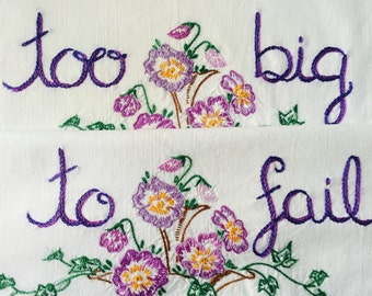 Too Big To Fail, Pillowcases, Hand embroidered, Boho bedroom, Pride, Couples gift, Romantic, LGBTQ