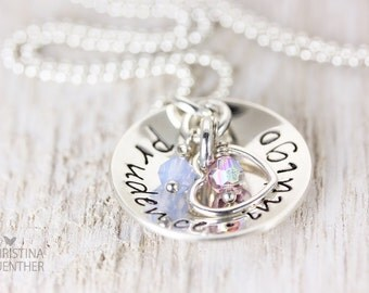 Colors of Love | Personalized Hand Stamped | Sterling Silver Mommy Jewelry | Birthstone Necklace | Children Name Names | Christina Guenther