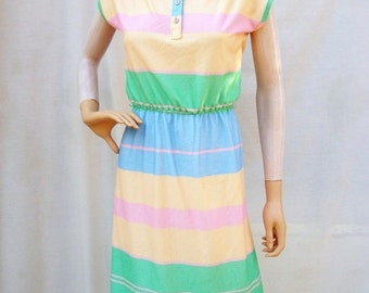 SALE 70s Stripe Casual Dress size Small Tee Shirt Dress