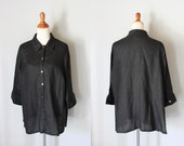 vintage Black Linen LEGGINGS shirt / button down blouse
