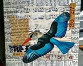 Take Flight - 6x6 original mixed media collage nature bird vintage style on wrapped canvas FREE U.S. shipping!