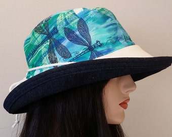 Sunblocker - Blue dragonfly large brim sun hat with adjustable fit