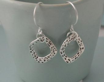 Organic Silver hammered hoop earrings