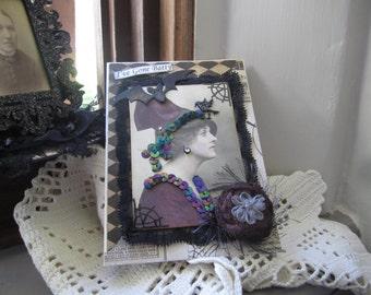 Halloween Card - Victorian Lady Halloween Card - Handmade Halloween Card
