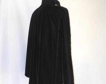 Black Velvet Short Cape with Silver Brocade  Lining
