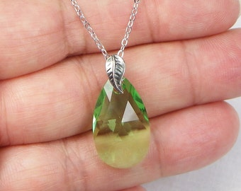 Swarovski Crystal Faceted Pear Pendant - Sterling Silver - Gift For Her - Peridot  - Green Crystal - August Birthstone
