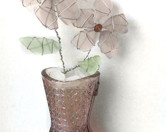 Amethyst Sea Glass Flowers in VIntage Amethyst Glass Shoe Vase with Patterned Sea Glass