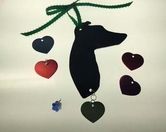 Greyhound Silhouette Ornament in Stained Glass