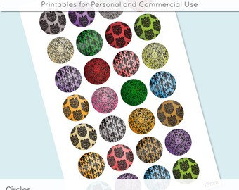 Damask Colorful Digital Collage Sheet Circle 18mm 16mm 14mm 12mm Circle Round on 4x6 8.5x11 Sheets for Earring Pendant Cuff Jewelry