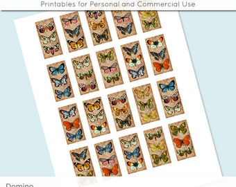 Butterflies 1x2 Domino Collage Sheet Digital Images for Glass and Resin Pendants Magnets Paper Craft JPG D0003