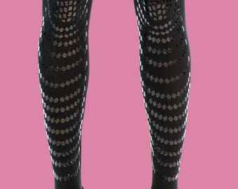 Black on black tights, opaque tights, printed tights, hand made Goldfish model available in S-M L-XL