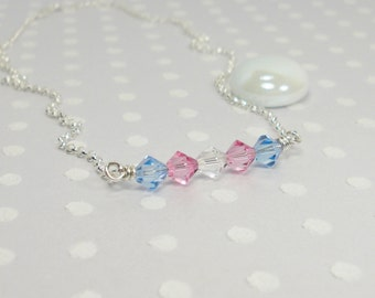 Transgender LGBT Pride Flag - Trans Woman - Trans Pride - Handmade Necklace – Crystal Necklace - Custom Jewelry – Sterling Silver Necklace