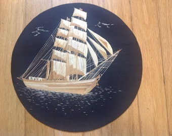 Texas TALLSHIP Elissa   Handmade with leaves of rice plant. Circular shape ready to hang on your wall  Great gift for a Texan. Nautical art