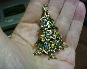Christmas Tree Brooch with antique finish and rhinestone lights