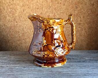 Antique 19th Century Rockingham Style Glaze Pottery Milk Pitcher - Brown Ware Drip Glaze - Fox Hunt Scene _ marked W or M - Summer Cottage