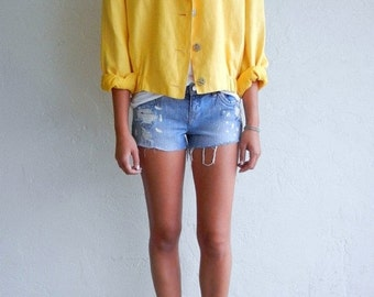 35% OFF SUMMER SALE Vintage Canary Yellow Linen Jacket