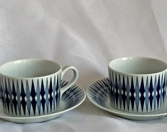 Navy Blue Demitasse Cups and Saucers - Arabia of Finland - Pajazzo - A Pair - Mid Century Modern