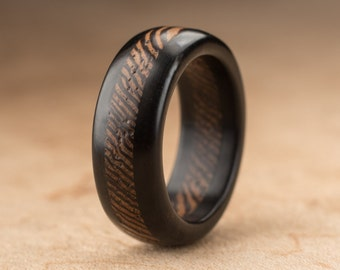 Size 5 - Ebony Wenge Wood Ring - 7mm