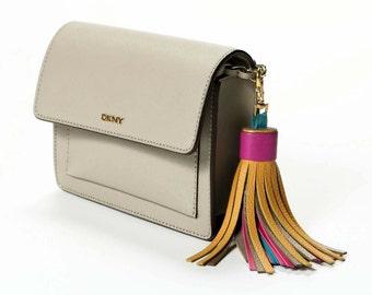 Leather Tassel Key Chain Large Tassel Multicolor Tassel Purse Charm