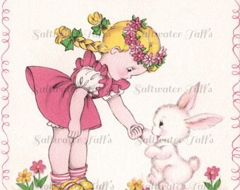 Girl Greeting  Bunny Vintage Image Digital Download  pink 1940's  sweet rabbit spring flowers garden adorable