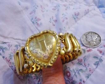 Vintage Retro Gold Filled Expandable Girls Bracelet Ornate Heart Center Leading Lady
