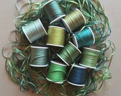 Green and Teal mix - 30 metres of 2mm solid colour silk ribbon