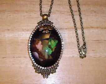 SALE! Wizard Of OZ Witch Glitter Art  Bubble Cameo Pendant Necklace Signed C Erbsland