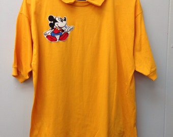1980s gold polo with Mickey Mouse by Ragz