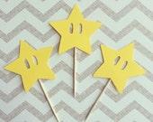 1 Dozen Mario Star Cupcake Picks- birthday, mario party