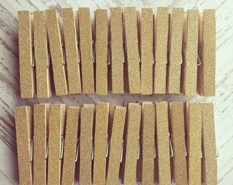 4 Dozen Gold Glitter Clothespins