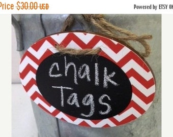 On SALE- 6 Chevron Chalkboard Tags with Chalkboard Labels, Basket Labels, Gift Tags, Wedding Chalkboards