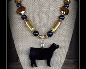 Show Steer Pendant With Beaded Necklace & .45 Bullet Beads