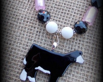 Glass Black Baldy Show Steer, Cattle, Pendant On Beaded Necklace