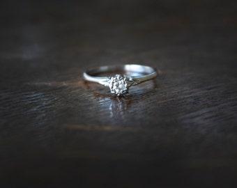 Antique Art Deco engagement ring Genuine natural Diamond Solitaire platinum and 18k solid gold