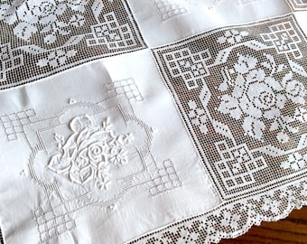 Vintage Army Navy Tablecloth Linen and Lace 40 Inches
