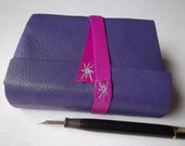 violet pocket journal, leather wrap journal with fine art papers, backpack sketchbook, travel journal