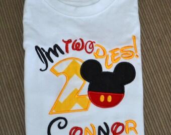 I'm twodles Mickey Mouse Boys Birthday Shirt , Boys Birthday Disney Shirt, Mickey Mouse Shirt, Personalized Disney