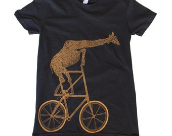 Giraffe on a bicycle- Womens T Shirt, Ladies Tee, Tri Blend Tee, Handmade graphic tee, sizes s-xL