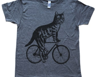 Cat on a Bicycle- Kids T Shirt, Children Tee, Tri Blend Tee, Handmade graphic tee, sizes 2-12