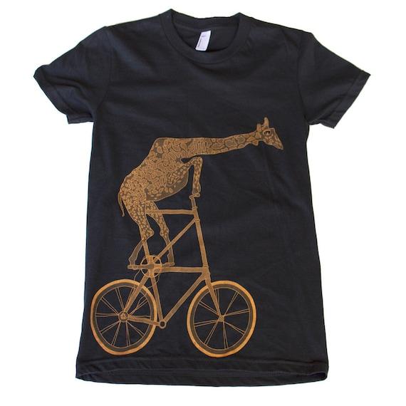 Giraffe on a bicycle- Womens T Shirt, Ladies Tee, Tri Blend Tee, Handmade graphic tee, sizes s-xL