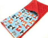 "14"" Fox Minky Mini Baby Blanket, Animal Orange Red Blue Lovey"