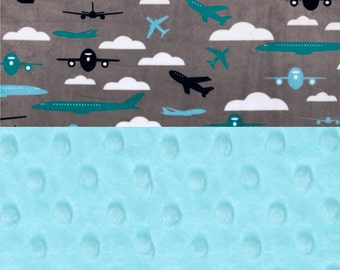 Blue & Gray Airplane Minky Baby Blanket, Personalize Teal Aqua 29 x 35