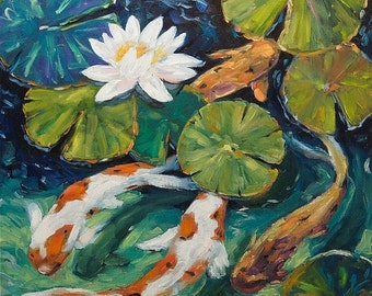 On Sale Pond Swimmers - Original oil painting - created by Prankearts