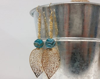 Delicate Gold Leaf and Turquoise Dangle Earrings