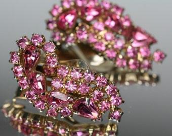 Vintage Pink Rhinestone Clip Earrings - Kramer