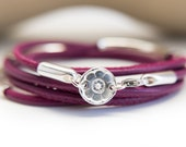Leather Bracelet Multi Wrap Tube Bracelet Sterling Silver Fine Silver Jewelry Stacking Charm Flower Power Gift for woman her mother sister